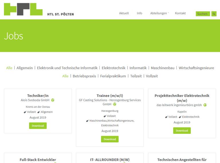 Neue Jobplattform auf der Seite der HTL St. Pölten